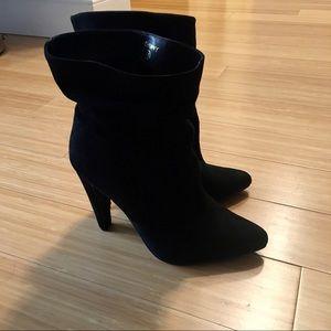 Faux Suede Scrunch High Heel Ankle Booties